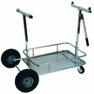 "KART WAGON ""PROFI"" WITH TRAY, INCL. WHEELS, CHROME PLATED"