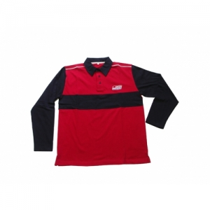 """SH"" POLO-SHIRT LONG SLEEVE RED/BLUE"