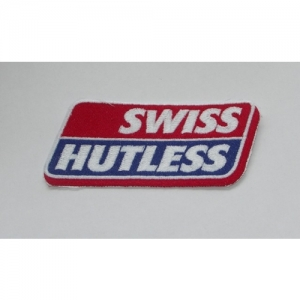 """AUFNÄHER """"SWISS HUTLESS"""" KLEIN 53X115MM"""
